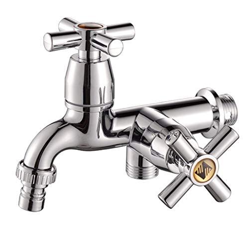 Homyl Wandmontage Wasserhahn Waschbecken Becken Waschmaschine mit Doppelauslauf Griff - 3