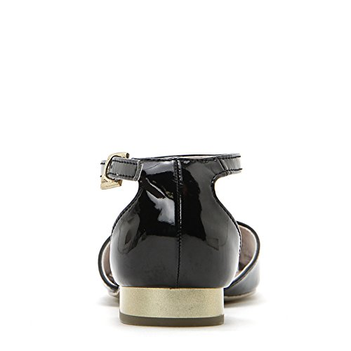 PRENDIMI by Scarpe&Scarpe - Sandales basses avec bride à la cheville et talon doré, en Cuir, à Talons 2 cm Noir