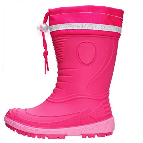 AQUAZON Classic Kinder Gummistiefel, Regenstiefel, Rain Boot, Gefüttert Mit 80% echter Schafswolle oder ungefüttert, wasserfest, federleicht für Jungen und Mädchen, Size:20, Farbe:pink ohne Fütterung