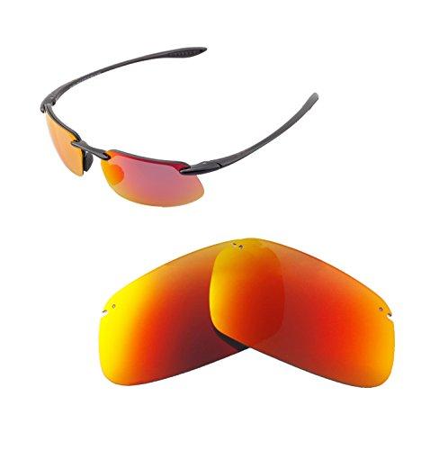 Walleva Ersatzgläser für Maui Jim Kanaha Sonnenbrille - Verschiedene Optionen erhältlich, Unisex-Erwachsene, Fire Red Mirror Coated - ISARC Polarized, Einheitsgröße