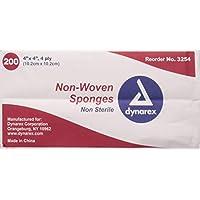 Dynarex Esponja no esterilizada, 4 x 4 pulgadas, 200 unidades (Paquete de 2)