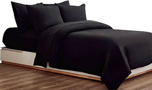 Non-Iron Duvet Cover Set 3 PCS Double Plain Brushed Microfiber Bedding Duvet Cover with Pillowcases (Black)