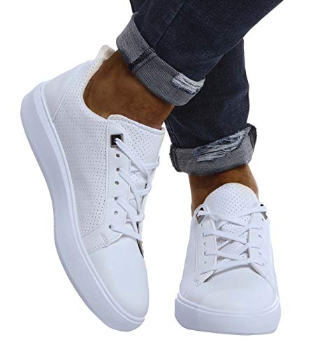 LEIF NELSON Herren Schuhe für Freizeit Sport Freizeitschuhe | Männer Weisse Sneaker Sommer Coole Elegante Sommerschuhe Sportschuhe | Weisse Schuhe für Jungen Winterschuhe Halbschuhe LN155A; 43, Weiß