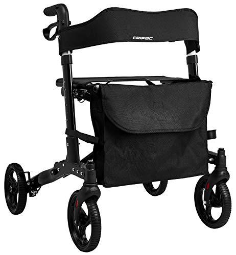 Faltbarer Leichtgewicht-Rollator FRIPAC R-1010, Aluminium, mit Ankipphilfe, kompletter Ausstattung, und bequemer Sitzfläche, schwarz -