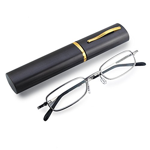 2-Pack THG vollrandrahmen Lesehilfe mit kompaktem Brillenetui +2.00 dpt. (Man Steel Brille Of)