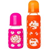 Naughty Kidz Premium Warmer Glass Bottle With Ultrasoft LSR Nipple||Silicone Bottle Warmer||Key TEETHER||Hood Retaining Cap And Sealing DISC RING-120ML+240ML (Pink+Orange)