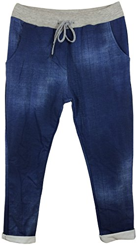Damen Hose Shirthose zum Relaxen mit Elastik-Tunnelzugbund und Taschen in Used-Look, MADE IN ITALY Jeansblau