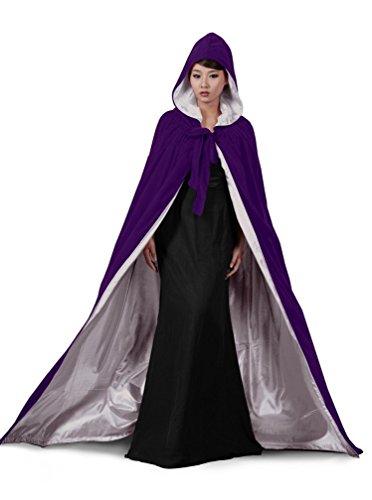 dressvip Violet Cape longue épaisse en velours Cape de mariage pour femme - Purple Purple