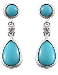 Sleeping Beauty Turquoise , Zircon Earrings in Platinum Overlay Sterling Silver 2.5 Ct