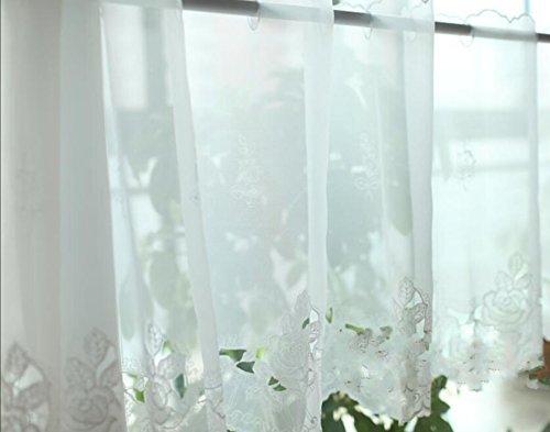 Tenda da cucina ricamata, per sala caffè, da pranzo, protegge dal sole, mantovane semi velate, white rose, 45x145cm