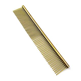 Pet Comb for Dogs,AmamMry 19cm Professional Stainless Steel Grooming Comb Cleaning Comb (Gold)
