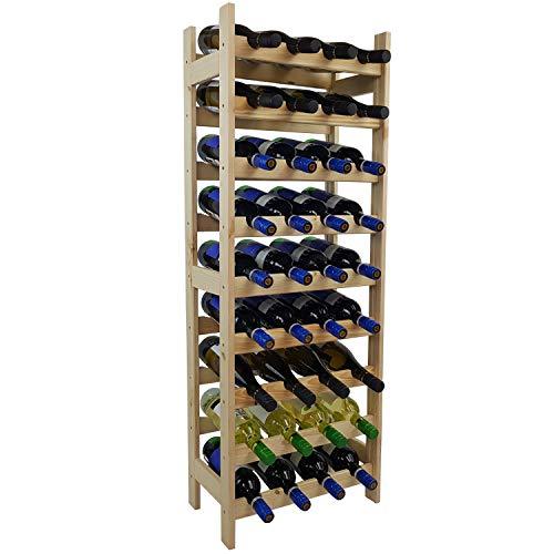 SunDeluxe Weinregal Bacchus Basic - Robustes Flaschenregal aus naturbelassenem Kiefernholz - Weinflaschenregal in 3 wählbaren Varianten, Variante:36 Flaschen