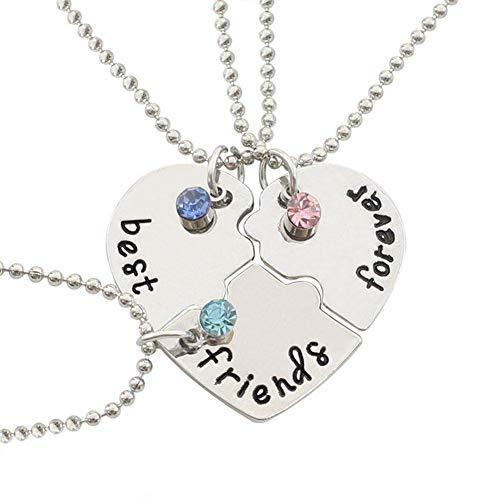 Hoveey Collar con símbolo de la Amistad, Creativo Collar de Tres Piezas con...