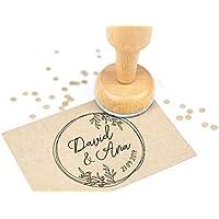 Sello Boda Personalizado, Sello de Madera con tampón de tinta, Sellos Personalizados Boda | Corona Flores Boho