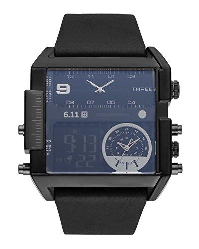 JSDDE Uhren,Herren Armbanduhr LCD Digital+Dual Quarz Uhrwerk Kalender Stoppuhr Wasserdicht Multifunktionsuhr NO.QY31-01
