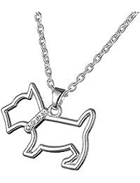 Animal Joyería Forma de Perro Escocés hueca colgante de cristal collar para perro persona Regalo