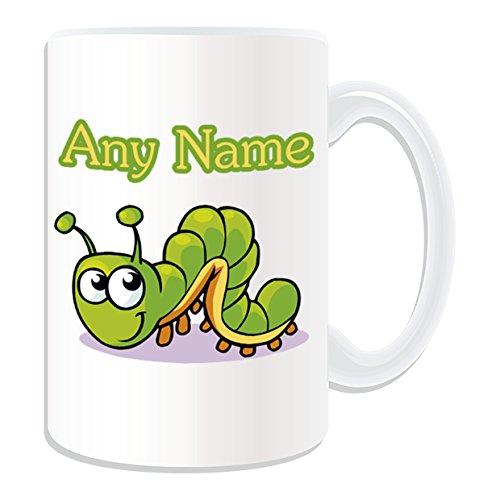 Personalisierte Geschenkbox Krabbelschuhe Raupe Tasse, Tier-Design, Motiv: Insekten, Name/Weiß) Nachricht auf das einzigartige Tasse