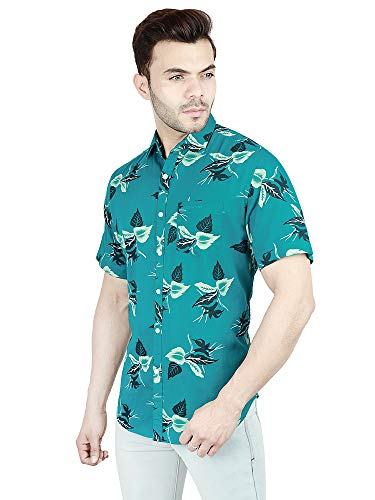 JScottwitchy Shirt for Men Pure Cotton Casual Half Sleeve Floral Print Slim Fit Shirt (FLORAL002)