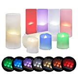 Miafamily 6 RGB LED Kerzen LED Flammenlose Kerzen Weihnachten LED Teelichter Elektrische Teelichter Kerzen für Halloween, Weihnachten, Party, Bar, Hochzeit (Flicker Gelb)