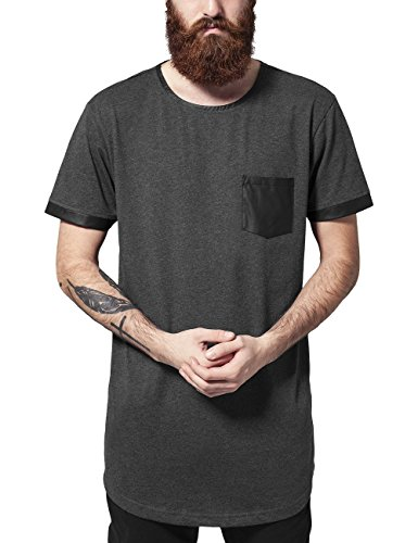 Urban Classics Long Shaped Leather Imitation Tee, T-Shirt Uomo, Mehrfarbig (Cha/Blk 314), X-Large