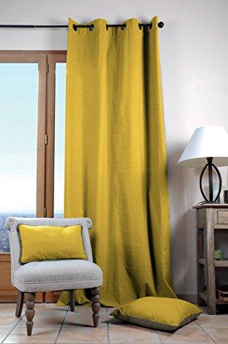 Lovely Casa Duo Uni–Cortina, algodón, Mostaza, 135x 240cm
