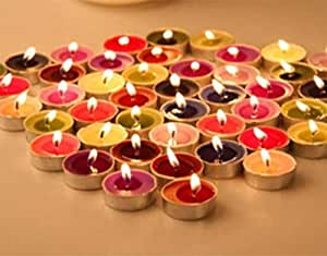 HK Balloons Wax Tealight Candles ( Unscented) Long Lasting Candle, Works for About 3-4 hrs. (Multi Color, Pack of 50)