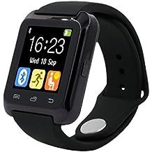 Reloj Bluetooth,Xinan Reloj Inteligente Podómetro para iPhone LG Samsung TELÉFONO U80 (Negro)