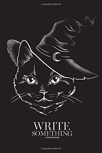 Notebook - Write something: Black cat with pointy witch hat line art notebook, Daily Journal, Composition Book Journal, College Ruled Paper, 6 x 9 inches (100sheets)
