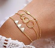 Lot de 3 Bracelets plaqué or - bracelet 3 cercles - bracelet triangles - flèche doré - cercles imbriqués - fin