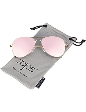 SOJOS Aviador de Metal Clásico Marco del Espejo Lente Gafas de Sol Con las Bisagras del Resorte SJ1030