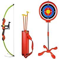 SHARROW Arco y Flechas Niños Tiro con Arco Tiro Juegos Arco de Niños con Objetivo,3 Flechas,Porta Flechas