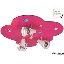 LED Kinderzimmer Deckenstrahler mit 3 schwenkbaren Spots Wolken-Strahler BLUMENWIESE