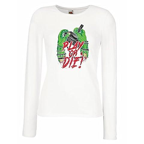 Manches longues Femme T-shirt Jouer ou mourir - pour les joueurs seulement! (X-Large Blanc