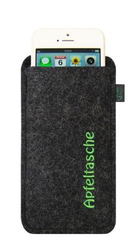 Filztasche für iPhone SE und iPhone 5/S, Apfeltasche anthrazit, Schutzhülle passgenau, 100 % Wollfilz Schwarz