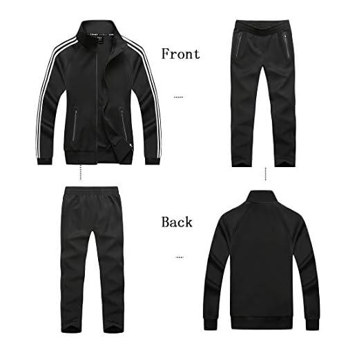 Mirecoo Uomo Casual 2 Pezzi Contrasto cavo Full Zip mette in mostra il rivestimento /& pantaloni Tuta