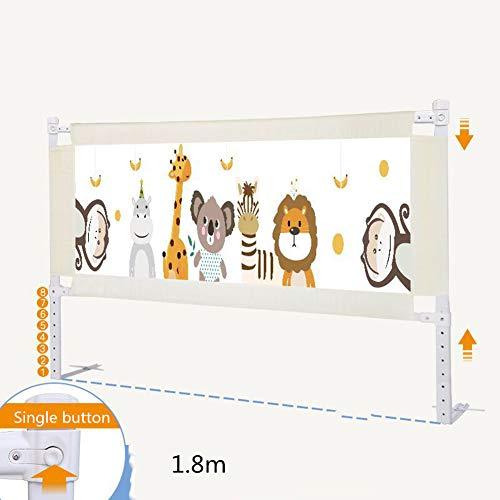 H-wlan Baby-Laufgitter Anti-Fall-Bettgitter Höhenverstellbarer Sicherheitsschutz Bettgitter für Kleinkinder Kinder und Kinder - Single Button,M