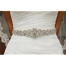 Cinturón con cristales para bodas, banda de estrás entrelazado
