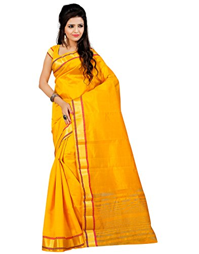 Roopkala Silks & Sarees Art Silk Plain Saree (Ds-211 _Yellow)