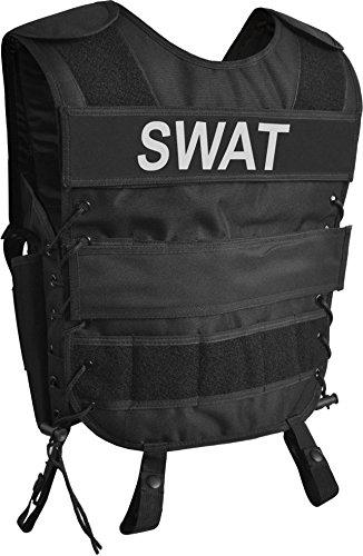 AT Weste mit Pistolenholster und abnehmbarem Schriftzug auf dem Rücken Farbe SWAT Größe M/L (James Bond 007 Kostüme)