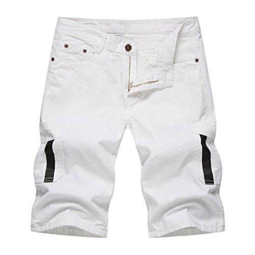 Jungen Gefüttert Swim Trunk (Herren Shorts Hose Xinantime Enim Arbeit Fracht Pocket Pants Overalls Kurze Hose Männer Schwarz/Weiß/Khaki/Grün/Gelb M-XXL (L, Weiß))