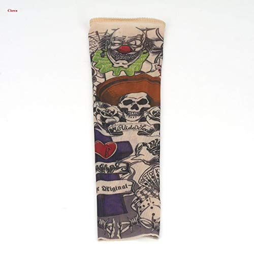 Tattooärmel, VOSO 2 Stk Tattoo Ärmel Tattooärmel Tattoosleeve Skin Tattoowiert Stulpe Kostüm Halloween Strümpfe Kinder (Clown)