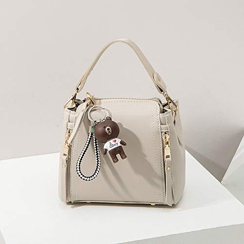YZJLQML Damentasche DamenmodeFashion Wild Single Shoulder Diagonal Mini Bucket Bag Casual Damen Handtasche Schultertasche, grau -