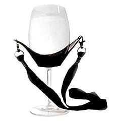 Idea Regalo - Jiayuane (Colore casuale) 1 Pz Cordicella di vetro di vino, Tempo di festa Mano libera Collana di vetro di vino Collana Vino giogo Cinghie di vetro per madri Compleanno di gallina / addio al celibato