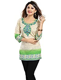 Color Petal Printed Faux Crepe Plus Size Short Kurti/Tunic/Top For Women And Girls
