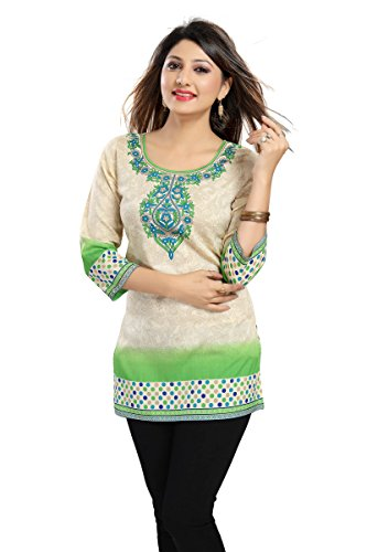 Color Petal Printed Crepe Green Colour Short Kurti / Tunic / Top...