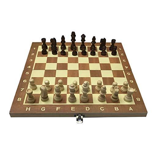 JohnJohnsen 29cm Holz Schachbrett Faltplatte Schach-Spiel Funny International Chess Set für Partei-Aktivitäten in der Familie (Holzfarbe)