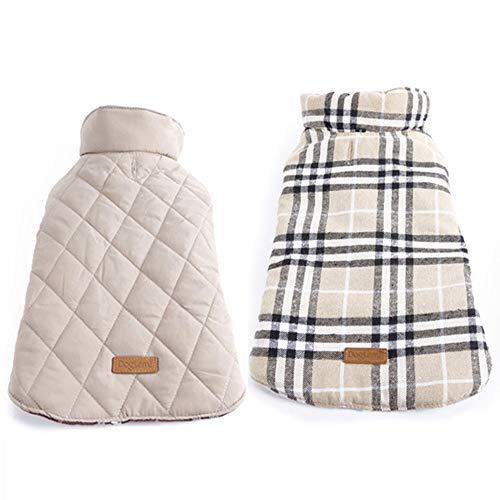 TYJY Wasserdichte Reversible Hund Jacke Warm Plaid Winter Hundemäntel Pet Kleidung Elastic Small to Large Hundebekleidung Winter L -