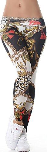 StyleLightOne Bunte Leggings Hauch-dünn Stoff Motiv Bedruckt Print, Kette Schwarz Weiß