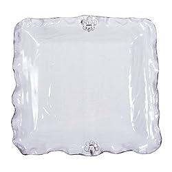 Abigails Fleur De Lis White Square Platter