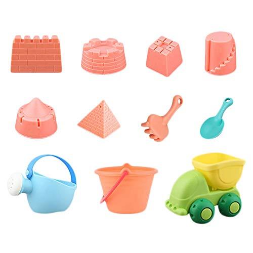 Conjunto de Juguete de Playa para Niños de Plástico Ecológico Resistente a Corrosión y Seguro de Usar con Cubo Regadera Pala de Arena y Más, Colorear, 11 Piezas